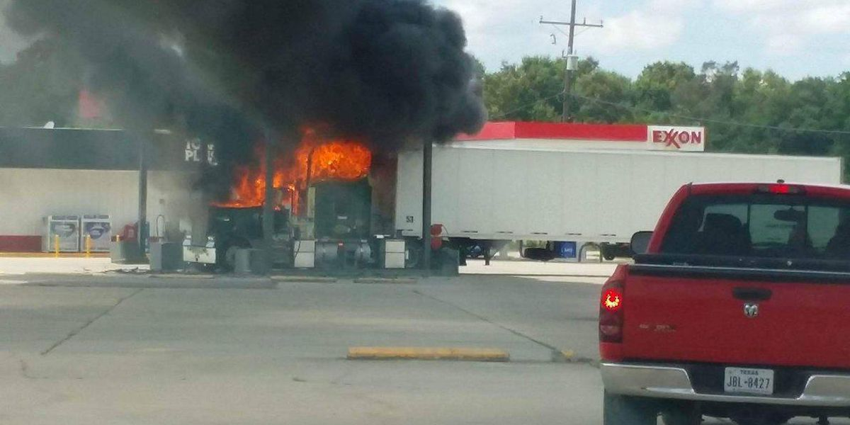 VIDEO: 18-wheeler catches fire at truck stop in Vinton