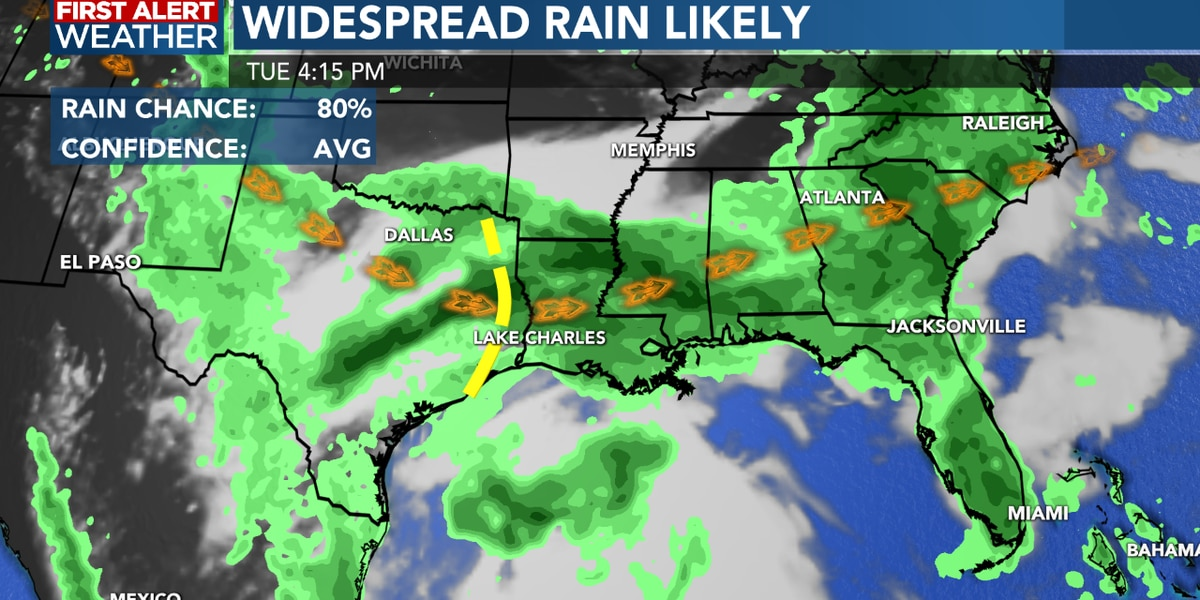 FIRST ALERT FORECAST: Rainy weather pattern will continue through most of this week