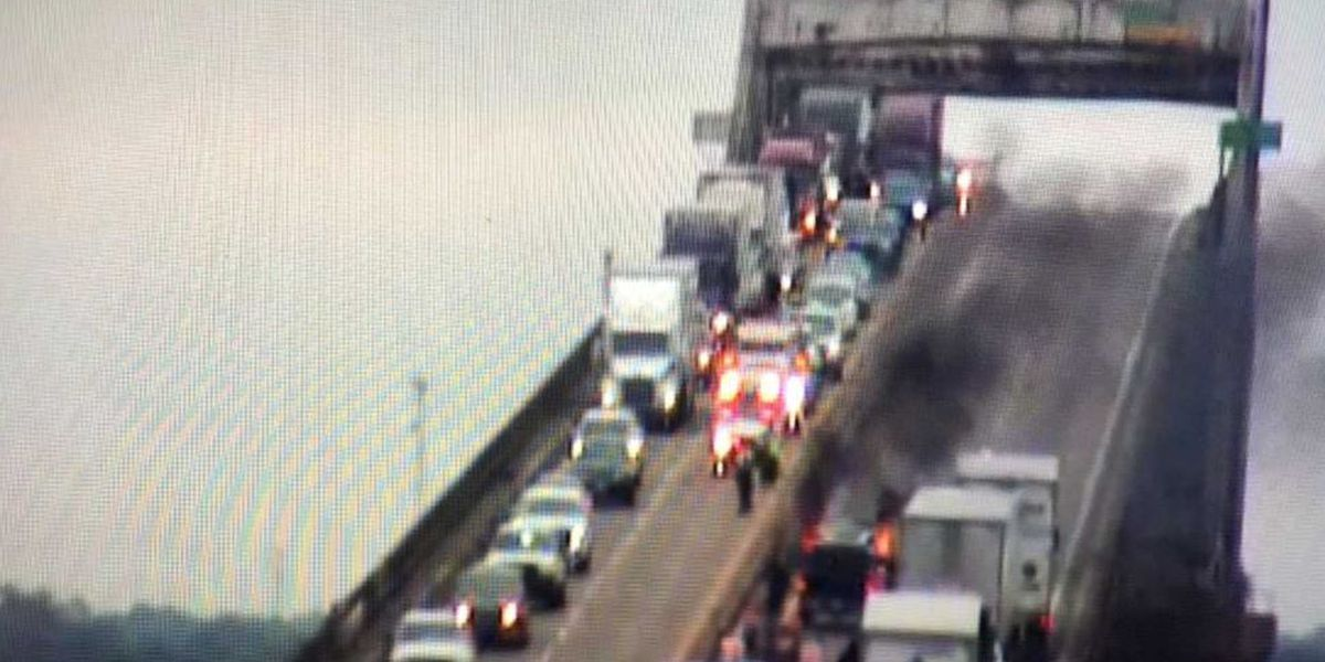 BREAKING: Vehicle fire on I-10 Calcasieu River Bridge WB