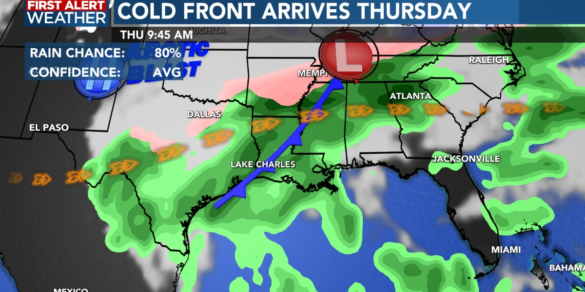 First Alert Forecast: Strong cold front arrives Thursday, turning colder by the weekend...