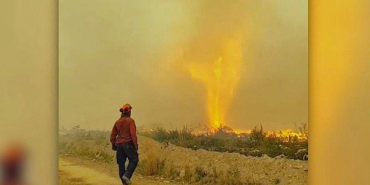 'Firenado' eats firefighter's water hose
