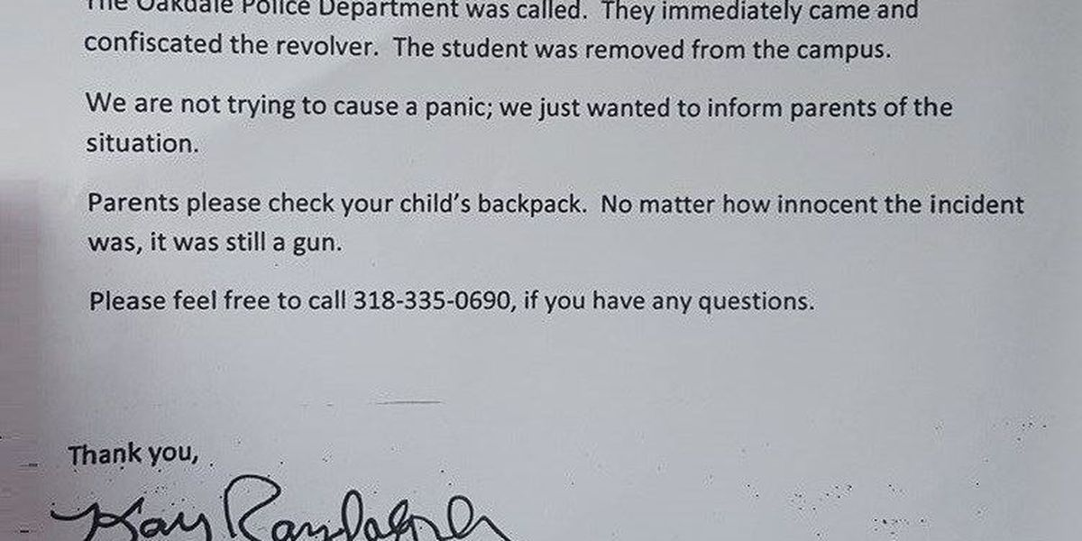 First-grader brings unloaded gun to Oakdale Elementary