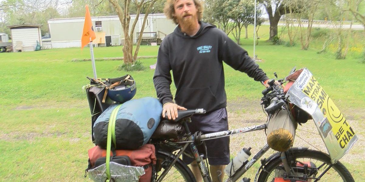 Man biking through U.S. to raise awareness for suicide prevention