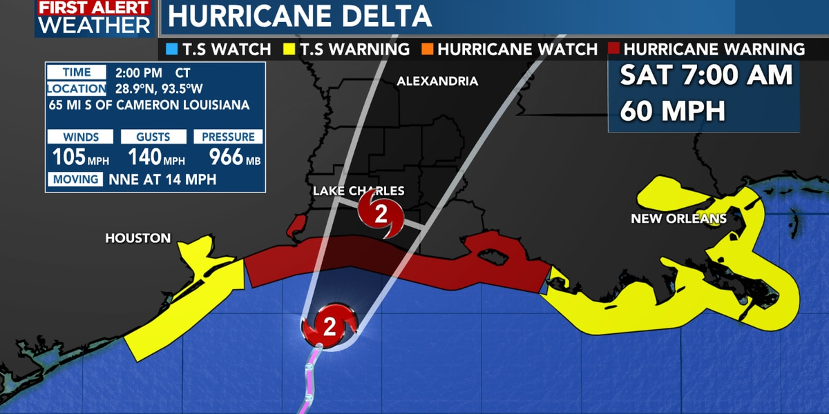 First Alert Forecast: Delta racing to the north-northeast, slowly weakening