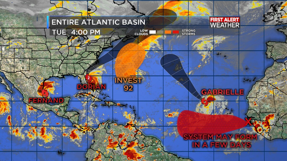 TROPICAL UPDATE: Tracking Dorian, Fernand and Gabrielle