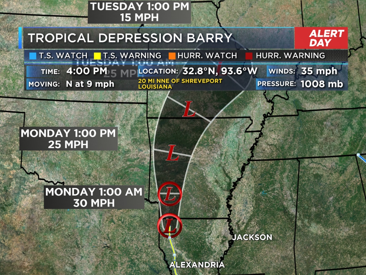 Barry has moved out of SWLA, but we'll still see rain through Monday