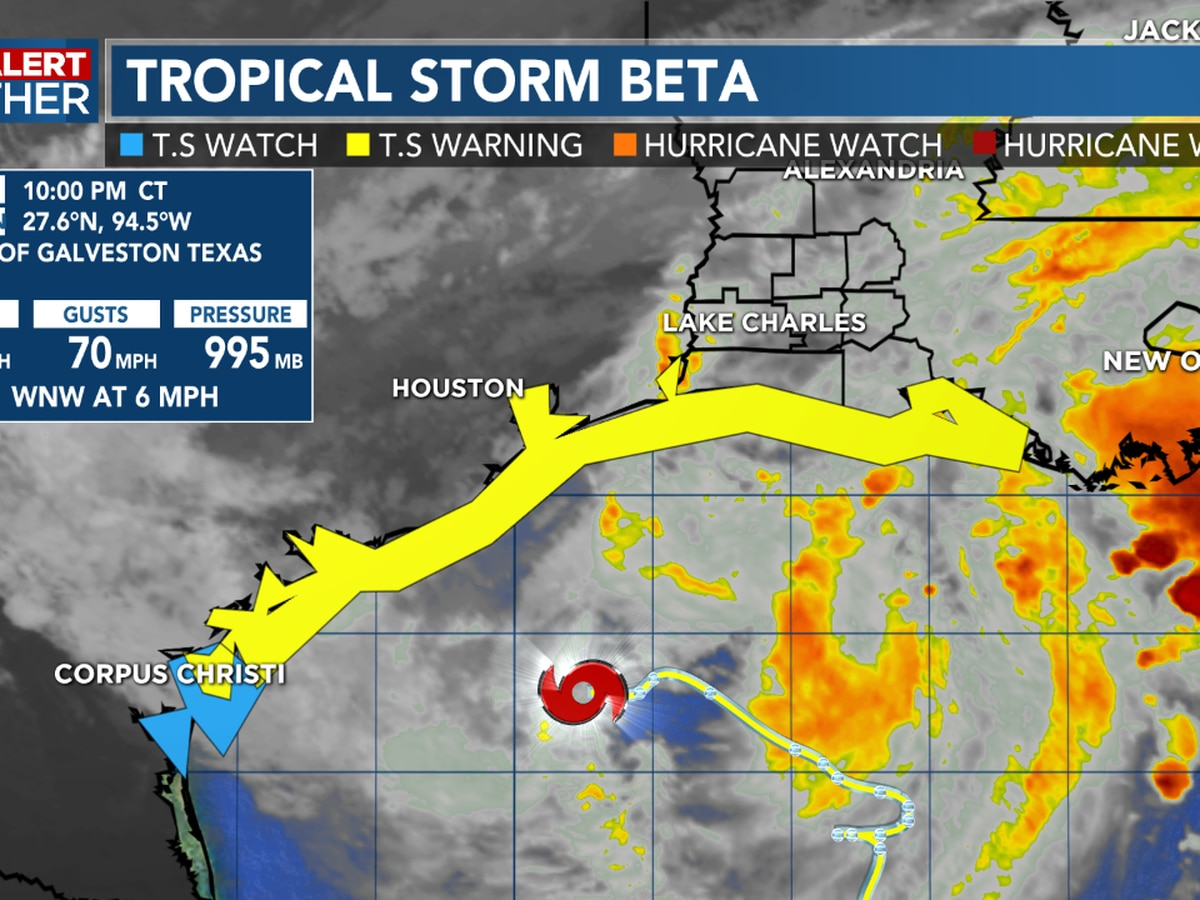 FIRST ALERT FORECAST: Tropical Storm Beta slowly moving to the west-northwest, making landfall Monday along the Texas Coast