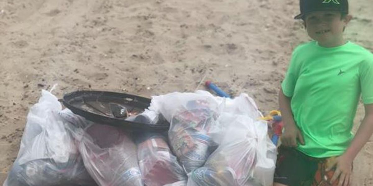 9-year-old picks up eight bags of trash at I-10 beach