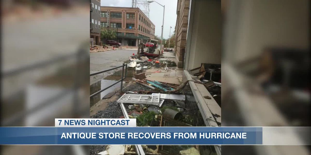 VIDEO: Hurricanes bust windows and cause flooding of antique shop, leaving merchandise in the street