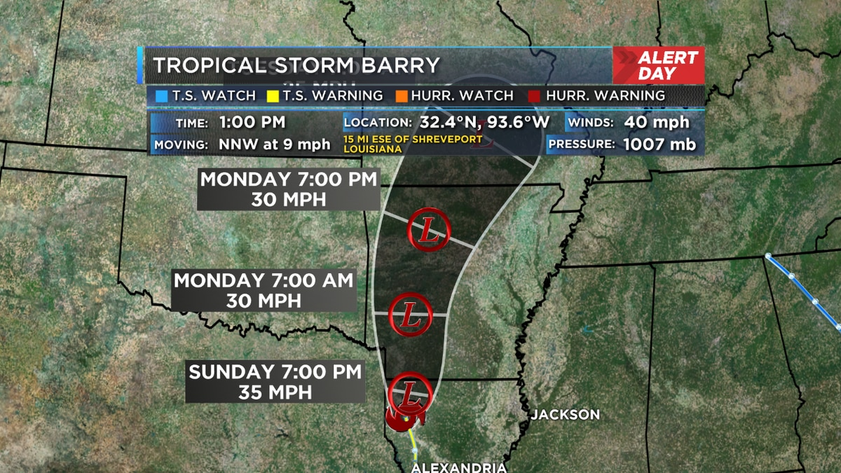 Barry continues to accelerate toward northern Louisiana
