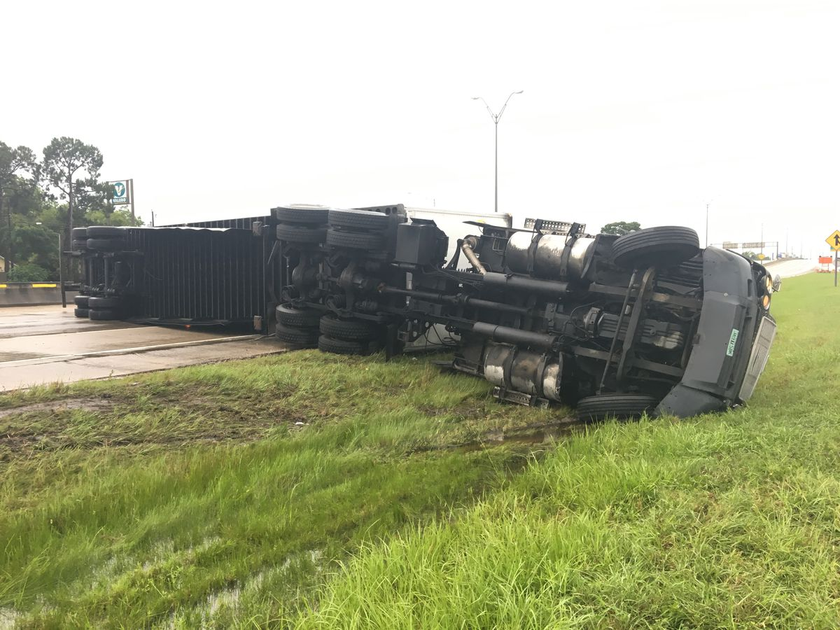 18-wheeler flipped on I-10 WB near Shattuck Street exit