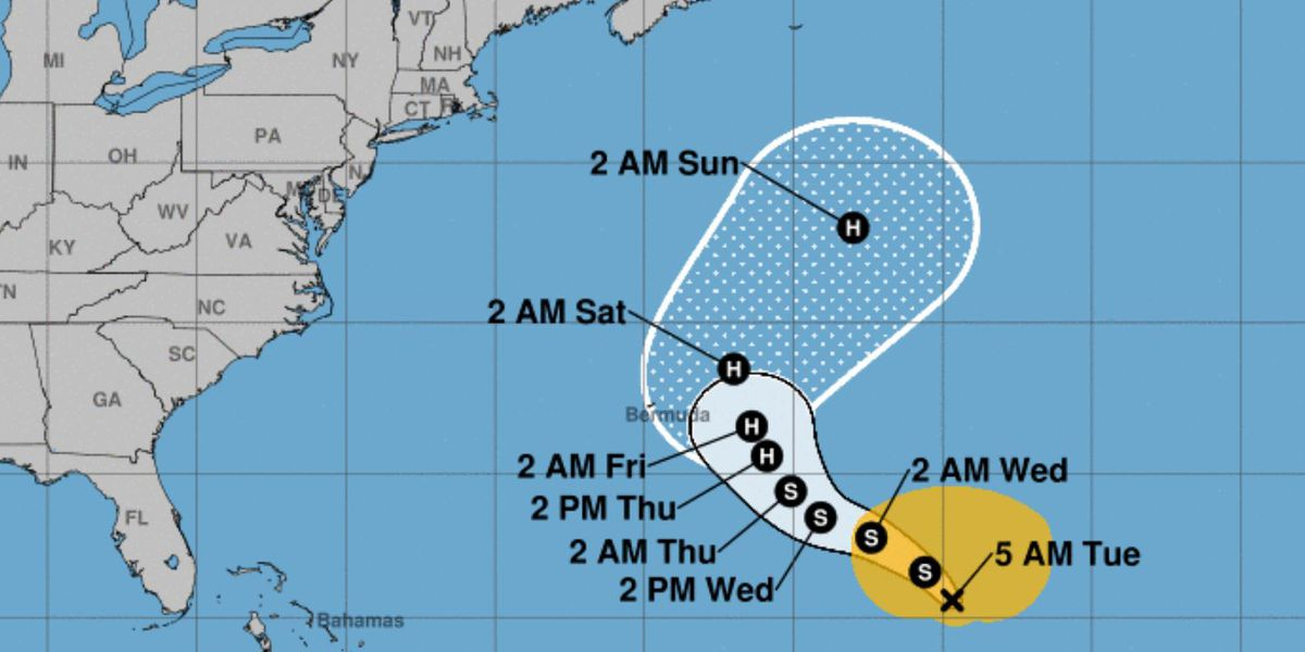 Tropical Storm Epsilon may become a hurricane near Bermuda