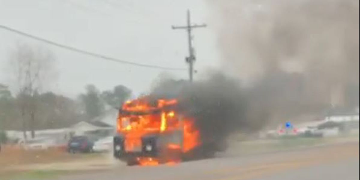 VIEWER VIDEO: Fire engulfs truck at intersection of US 90 and Cities Service Highway