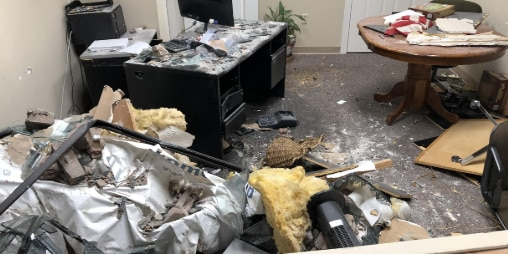 Truck plows into Gator 99.5 offices