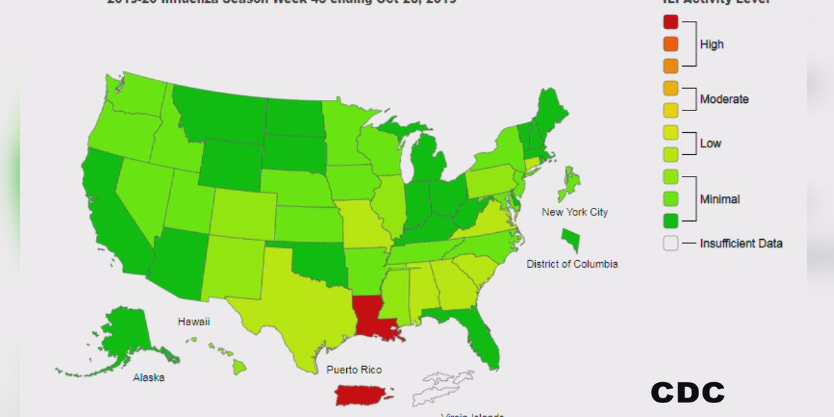 Louisiana leading the country in flu cases, according to CDC