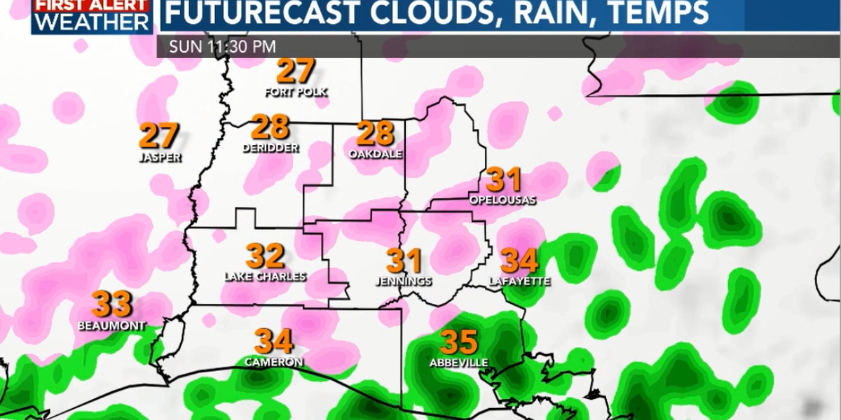 FIRST ALERT: Winter storm set to move into SWLA with impacts beginning Sunday night