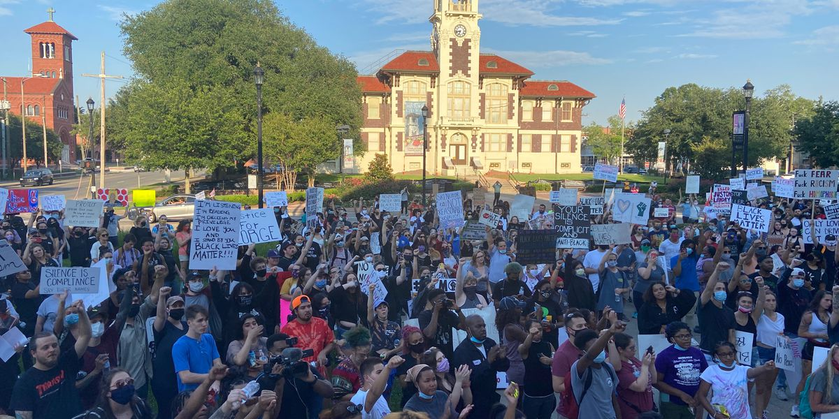 Hundreds march down Ryan Street protesting racial inequality
