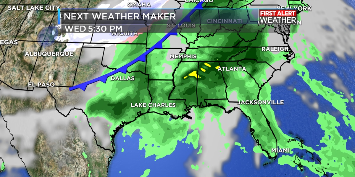 FIRST ALERT FORECAST: Clear start on Monday with rain by Tuesday