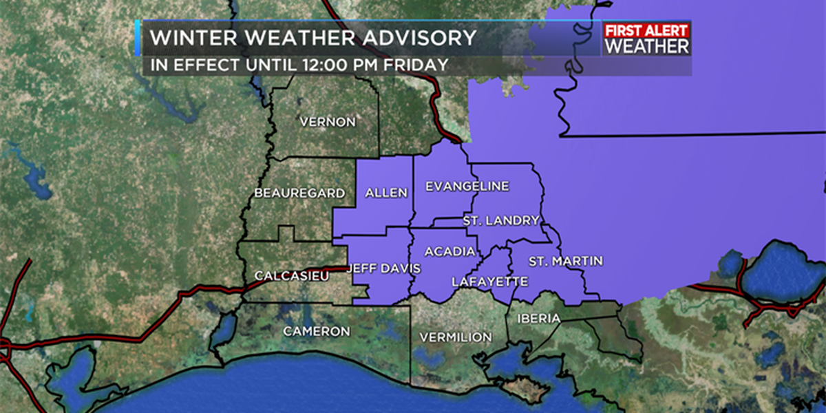 Winter Weather Advisory and Freeze Warnings issued for parts of SW Louisiana