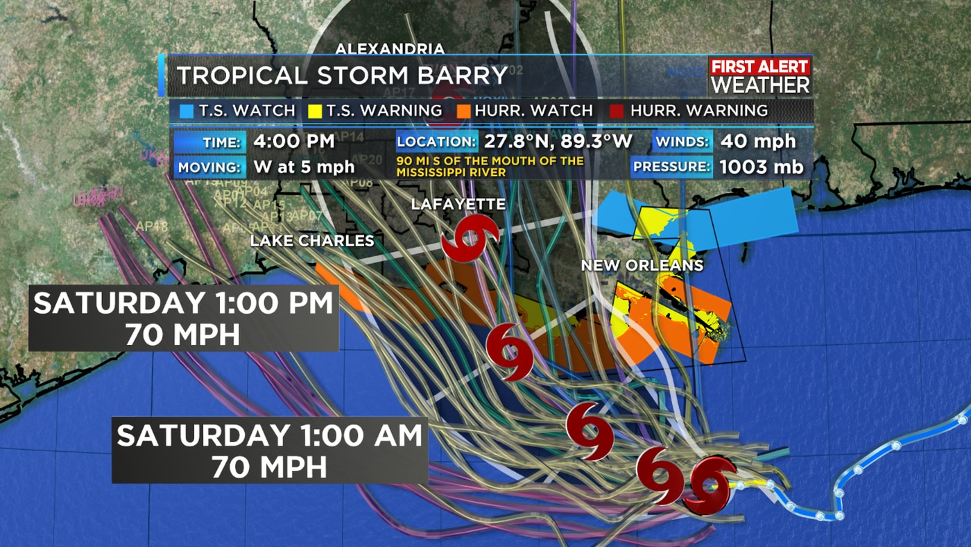 Tropical Storm Barry continues to crawl westward in the Gulf