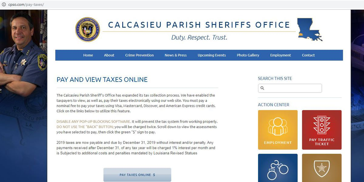 2019 Calcasieu Parish property tax payment methods announced