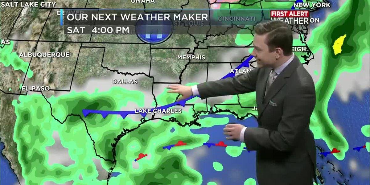 NOON FORECAST UPDATE: Rain chances go up slightly on Friday and Saturday prior to our cold front