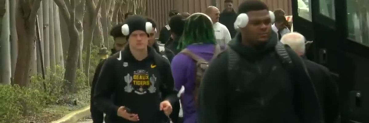 VIDEO: LSU football team departs campus for White House visit