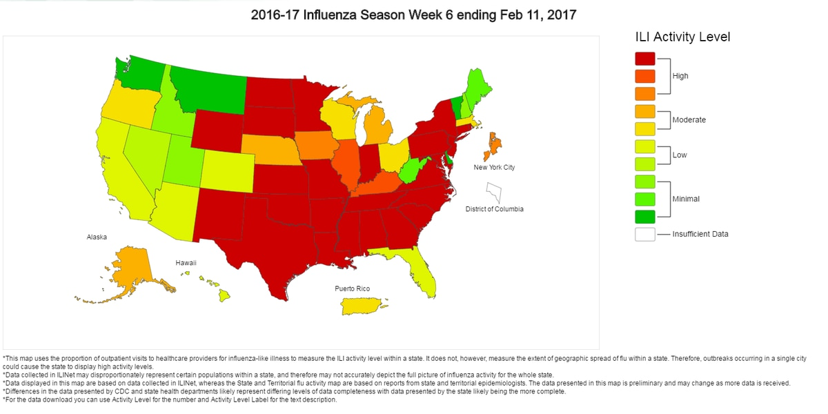 CDC map shows high levels of flu remain in Louisiana Cdc Flue Map on
