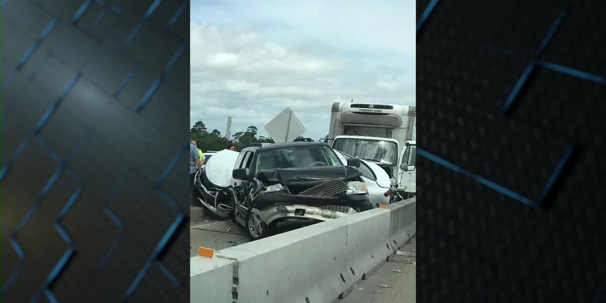 Six-vehicle wreck on I-210 bridge