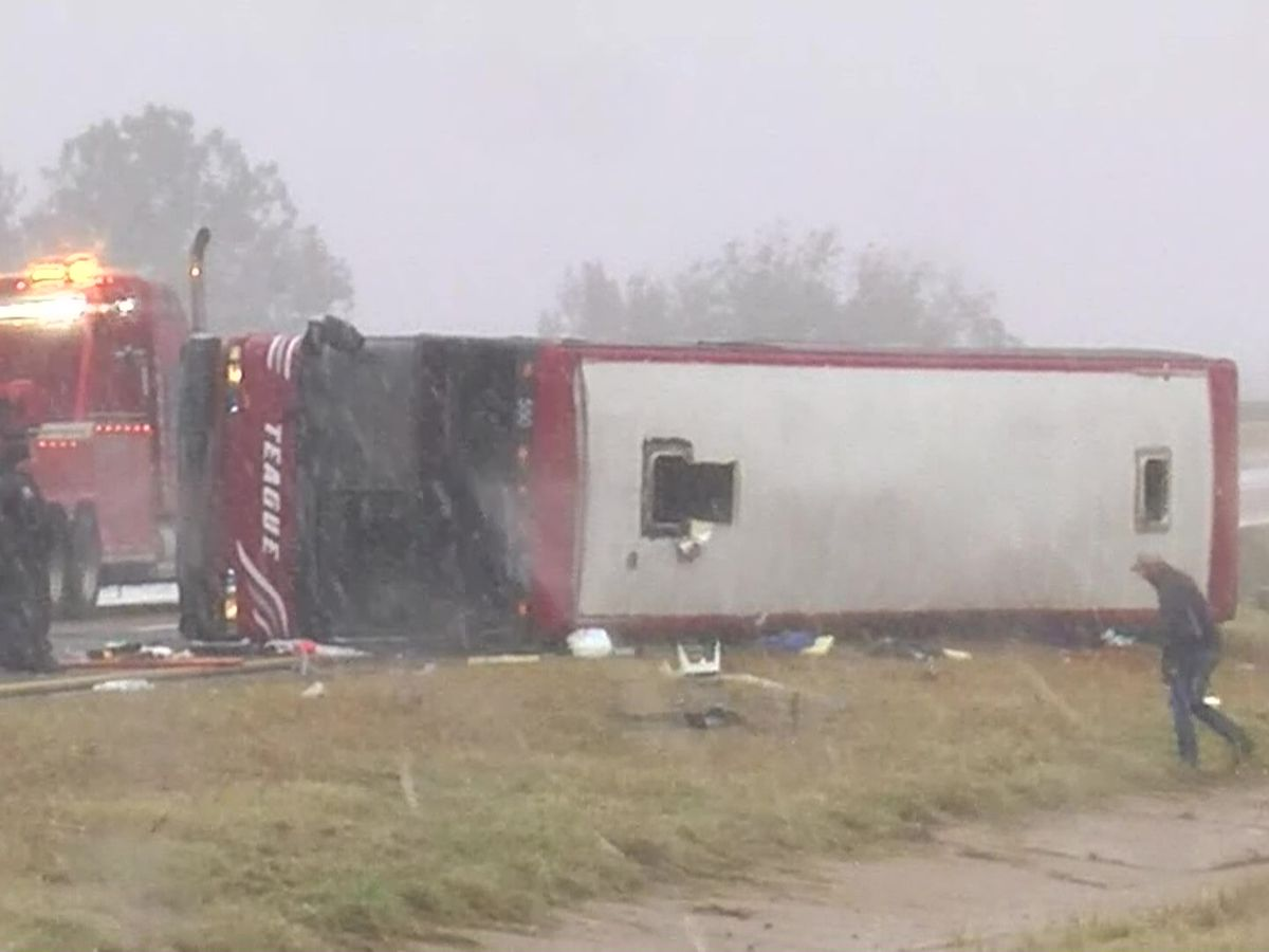 2 dead, 44 injured after Tunica-bound tour bus overturns on slick Mississippi highway