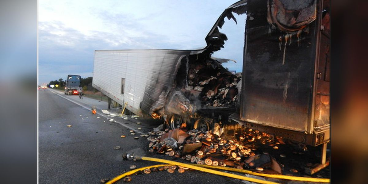 Tons of bagels burn to a crisp when truck hauling them catches fire