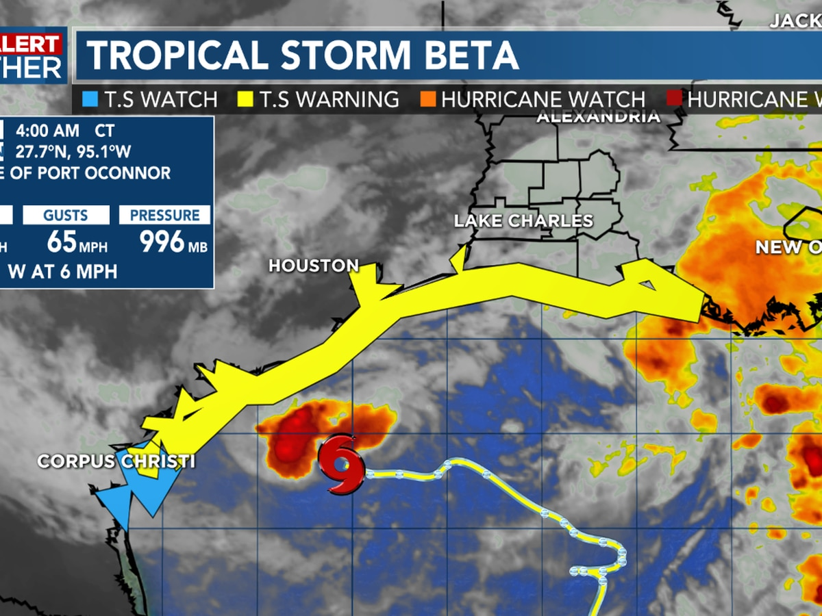 FIRST ALERT FORECAST: Tropical Storm Beta weakens slightly, still moving slowly off to the west