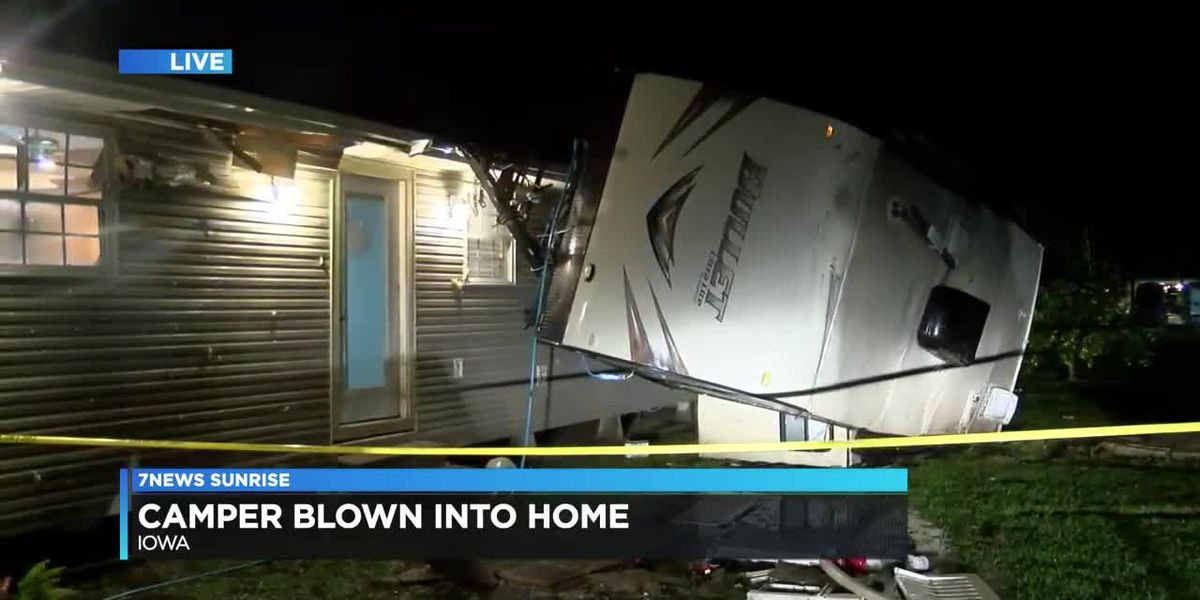 STORM DAMAGE: Camper blown into home north of Iowa overnight