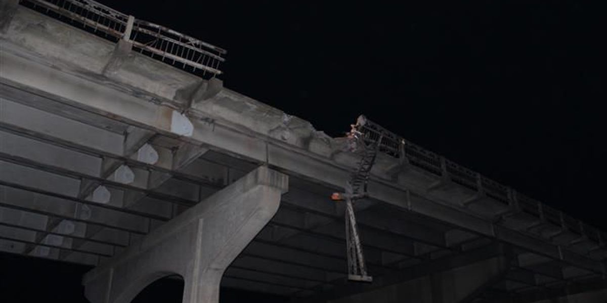 Piece of I-10 bridge guardrail falls in crash