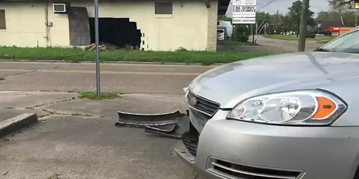 Car crashes into building at corner of 13th Street and Enterprise Blvd.
