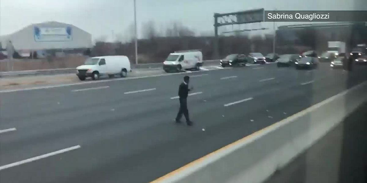 Video: Dough blows out of armored truck onto NJ highway