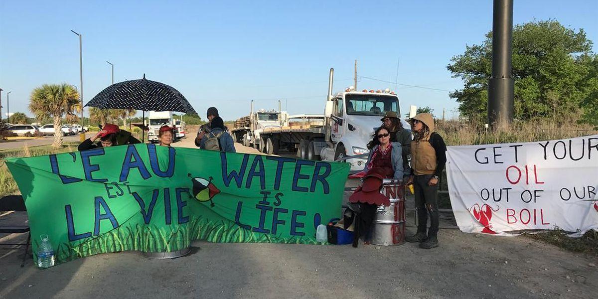 Louisiana educators dressed as crawfish shut down Bayou Bridge pipeline construction