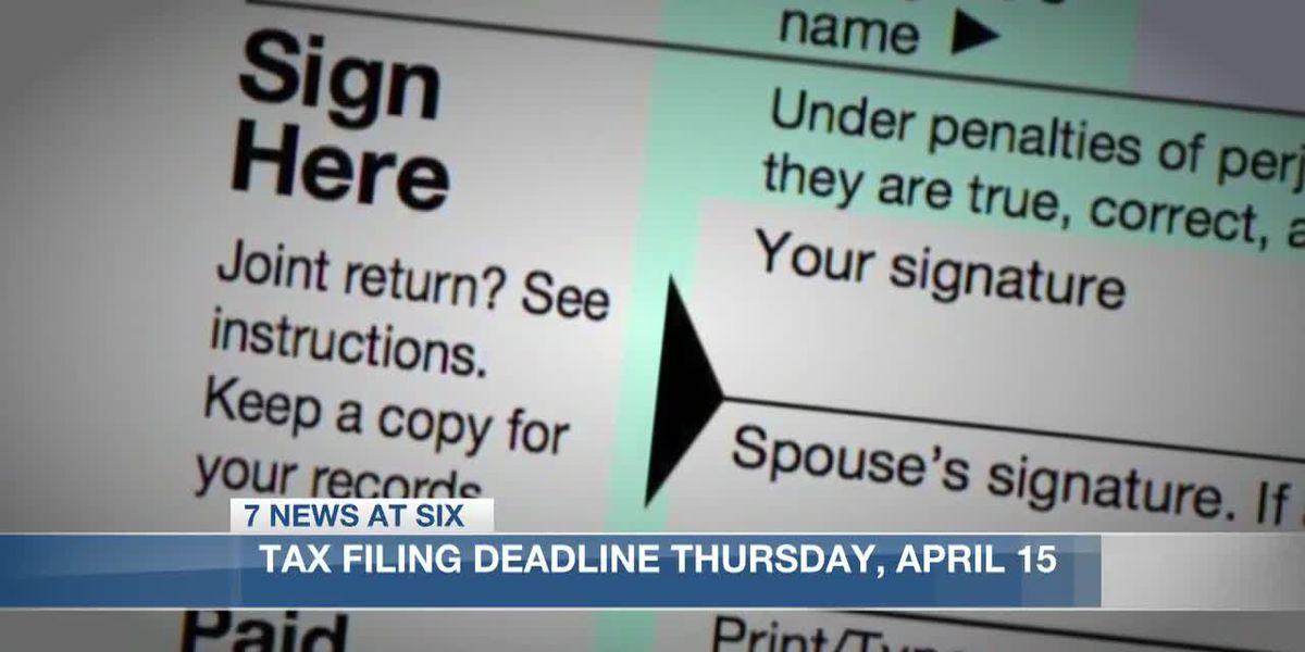 Tax filing deadline Thursday, April 15