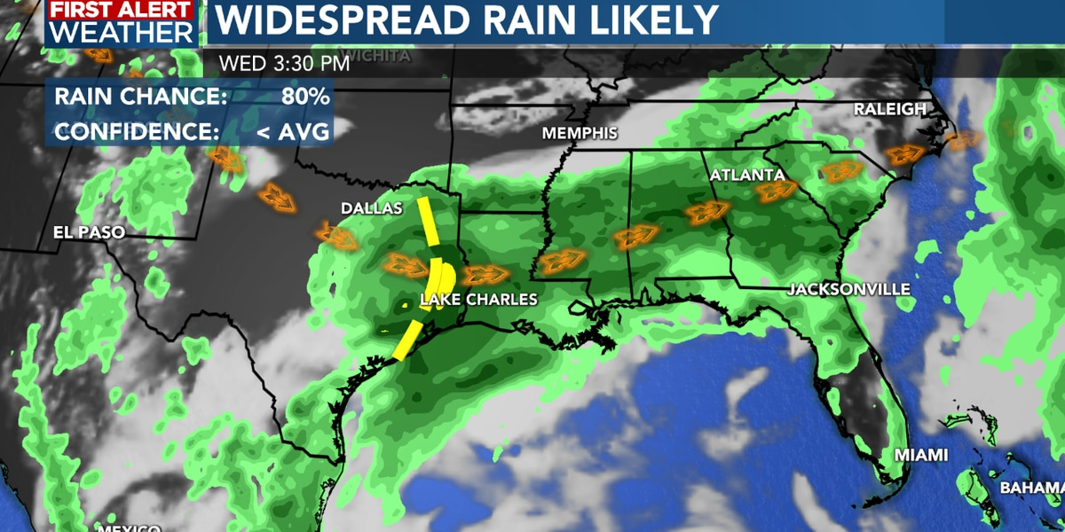 FIRST ALERT FORECAST: Rain chances remain well above normal for a few more days