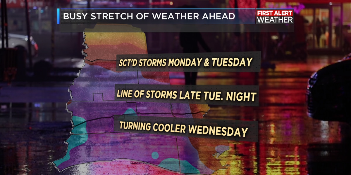 Rainy and stormy pattern ahead with another cold front arriving Wednesday
