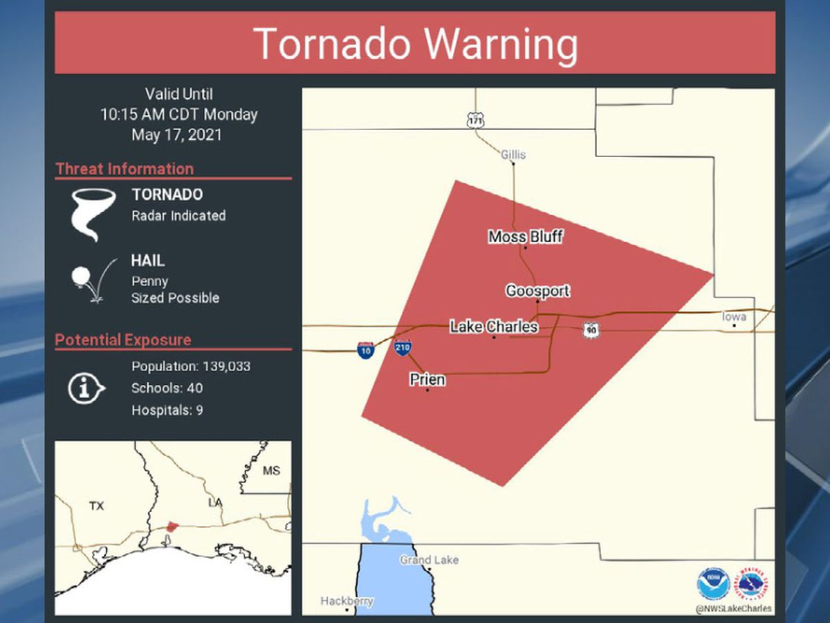Tornado Warning for Lake Charles, Moss Bluff, and Westlake area