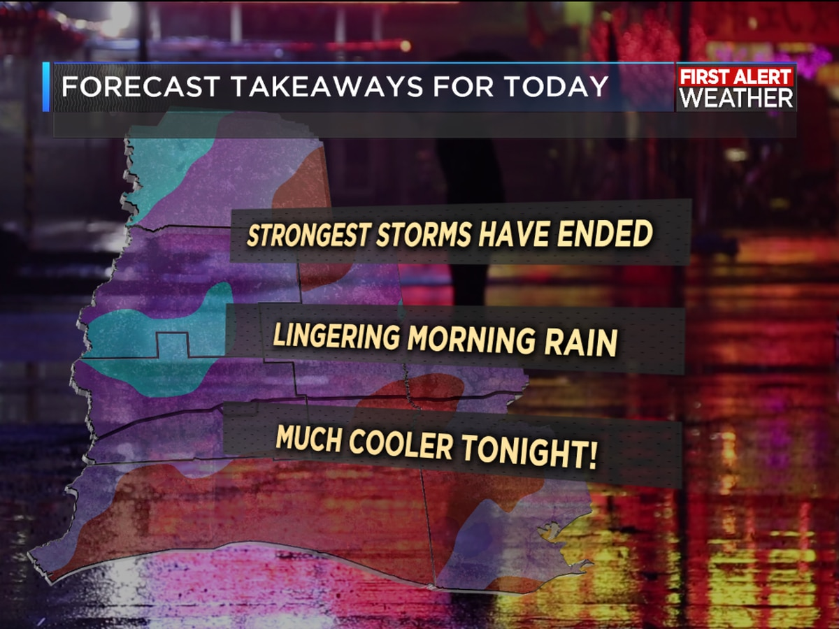 FIRST ALERT FORECAST: Morning storms usher in cooler temperatures; watching the Gulf for possible development