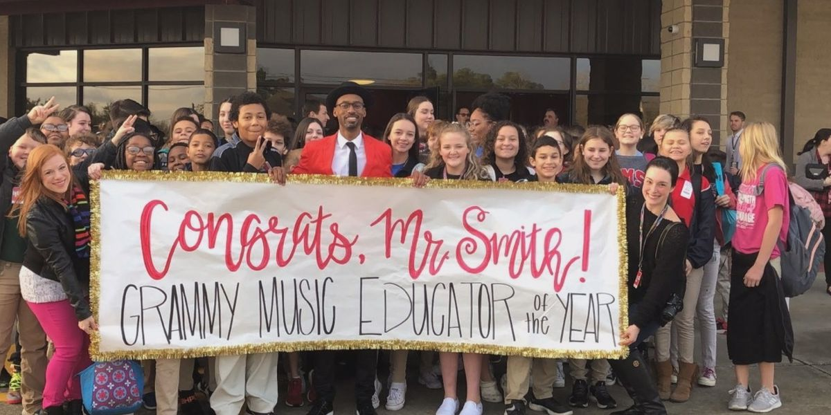 Mickey Smith Jr. returns to class after winning Grammy Music Educator Award