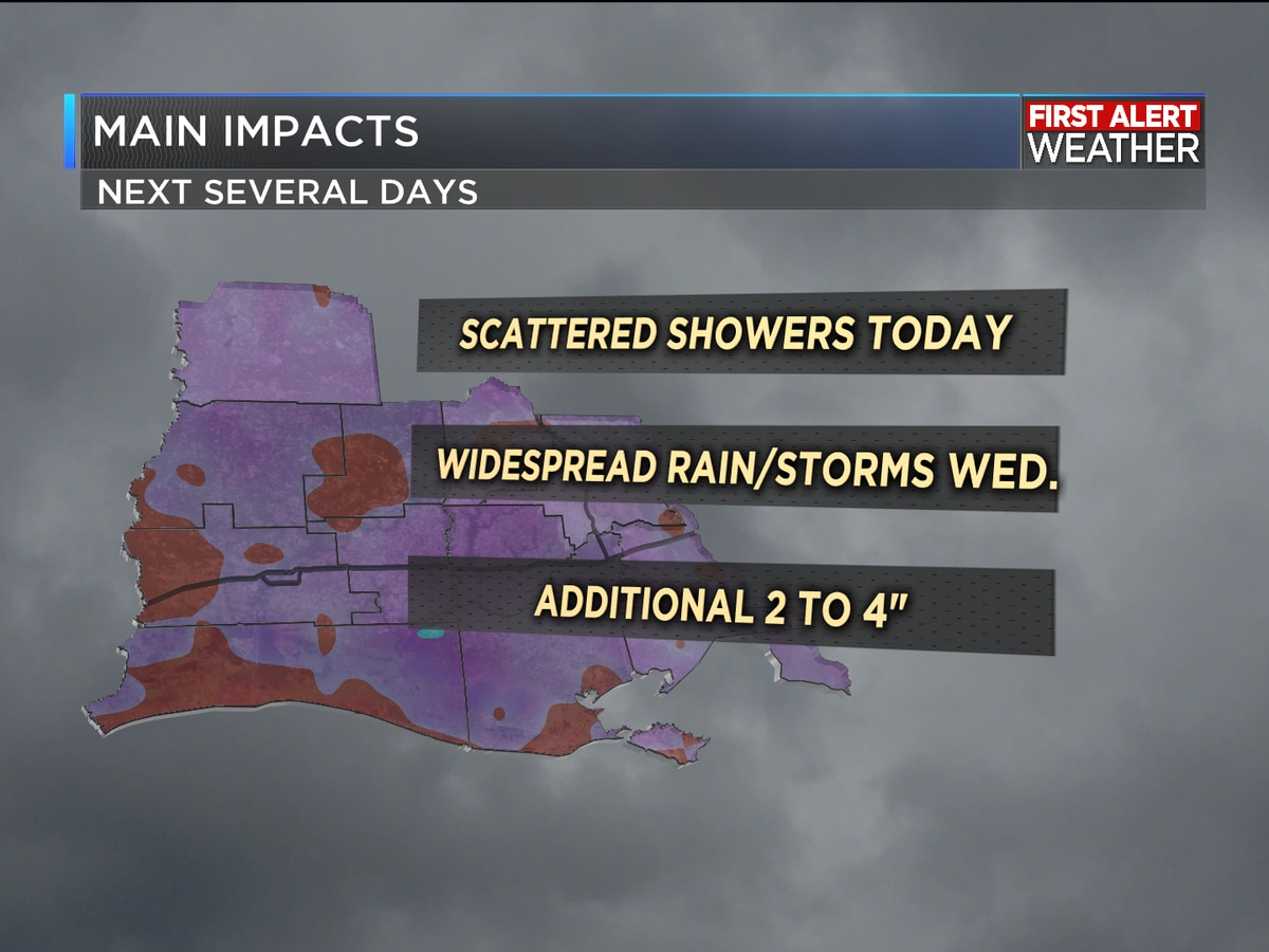 FIRST ALERT FORECAST: Soggy setup as rain brings some additional heat relief this week