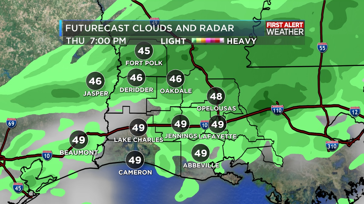 FIRST ALERT FORECAST: Rain clearing leading to a cold evening across Southwest Louisiana