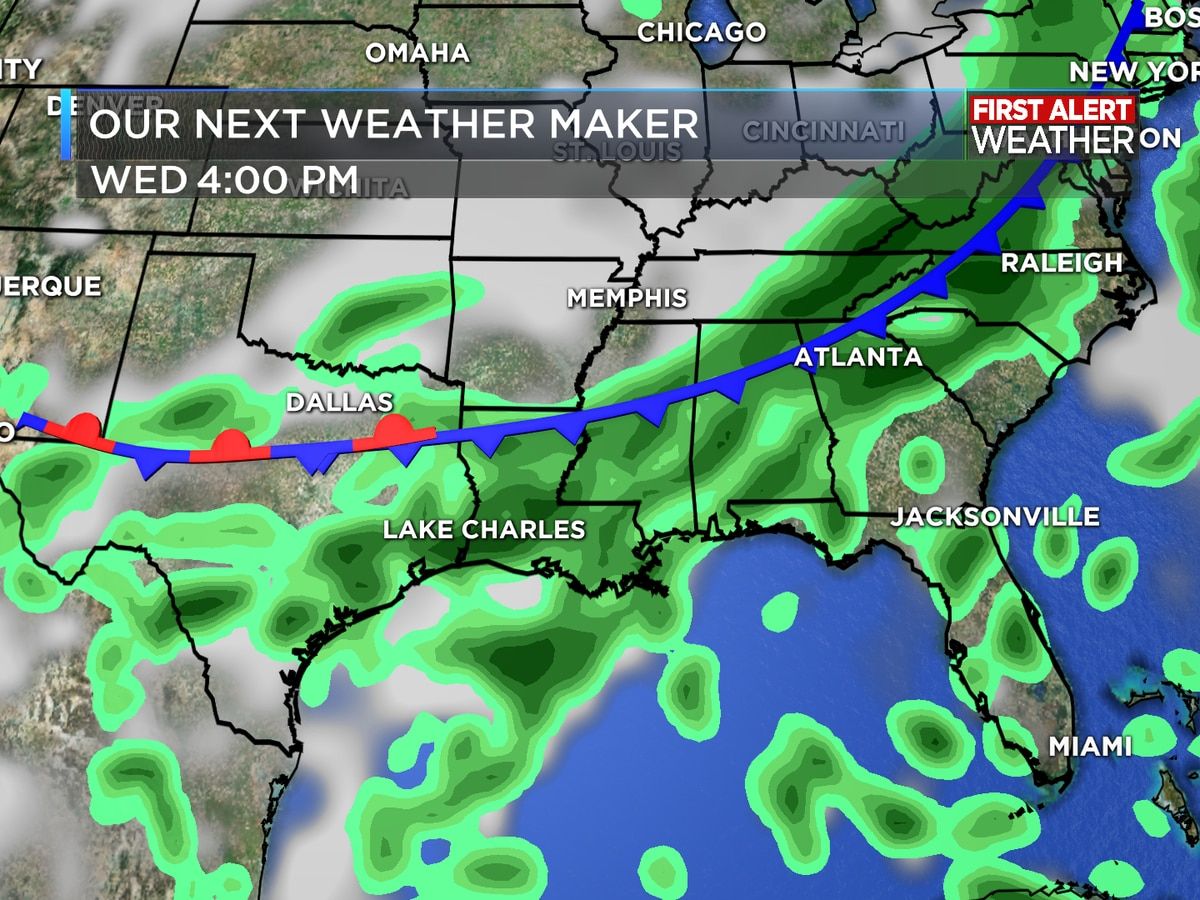FIRST ALERT FORECAST: Rain takes a break for today, but will return for the rest of the week
