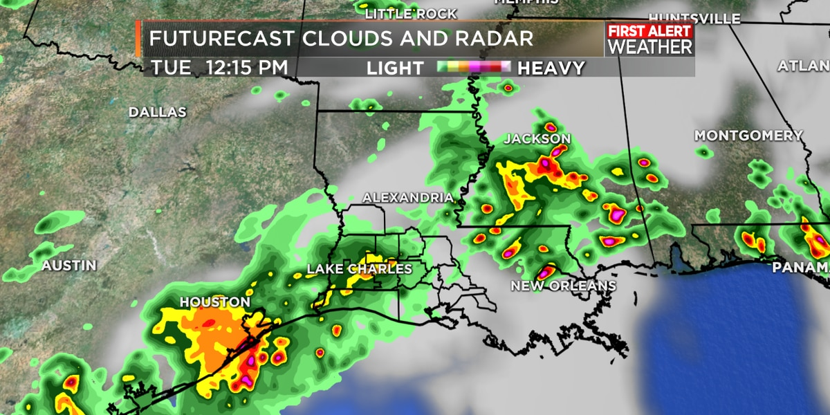 FIRST ALERT FORECAST: Storms arriving closer to midday and continuing this afternoon