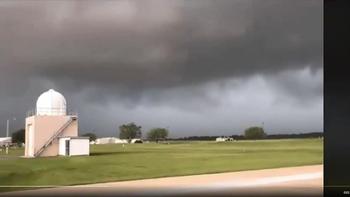 Timelapse video of a rotating wall cloud as it moved over the National Weather Service in Lake Charl