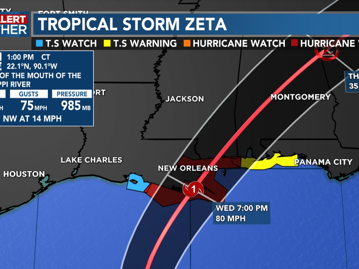 First Alert Forecast: Zeta is now in the Gulf but still poses no threat to SWLA thanks to an approaching front