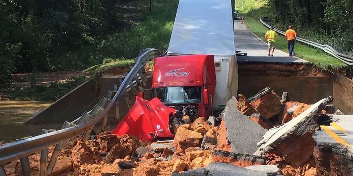 Wife of SC truck driver caught in Florence aftermath in road collapse thankful husband survived